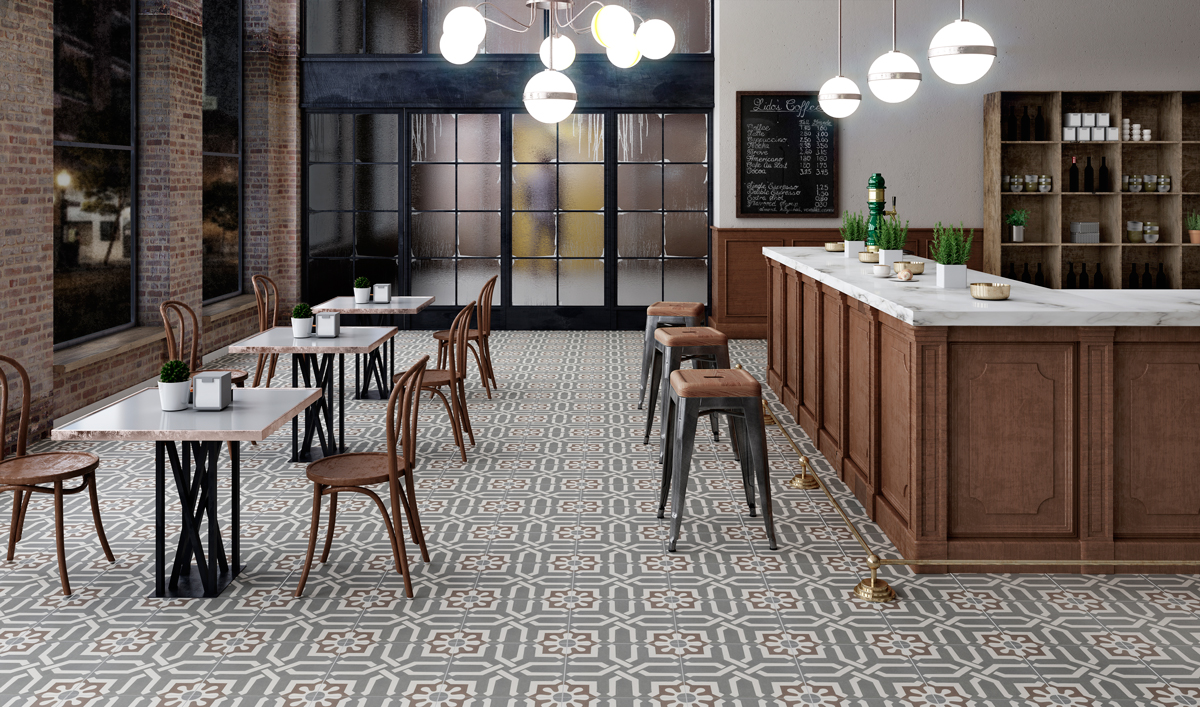 Resturant retail ceramic tile design encaustic collection graphite decor dailygadgetfo Choice Image